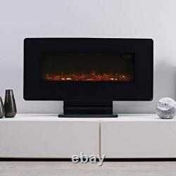 Focal Point Pasadena Black Glass effect Electric Fire LED, remote control NEW