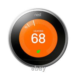 Google Nest Learning Thermostat 3rd Generation (Stainless Steel) with 2 Pack Wi-Fi