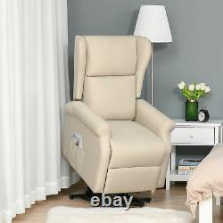 HOMCOM Electric Rise Linen Fabric Recliner Armchair Power withRemote Control White