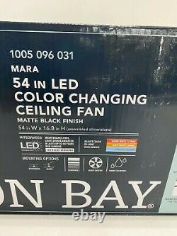 Hampton Bay Mara Ceiling Fan 54 in. LED Matte Black with Light & Remote Control