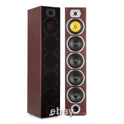 Hi Fi Speakers Loud Audio System 440W Floor Stand 4 Way Subwoofer DJ Mahogany