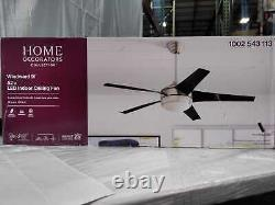 Home Decorators Collection Windward IV 52 in. LED Indoor Brushed Nickel Ceiling
