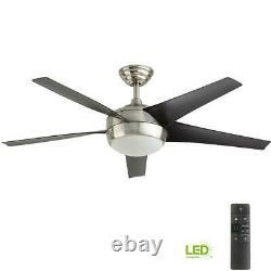 Home Decorators Windward IV 52 in. LED Indoor B. Nickel Ceiling Fan withLight&Remot