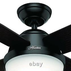 Hunter 52 Contemporary Ceiling Fan in Matte Black with LED Light and Remote