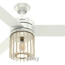Hunter 52 in. Modern Caged Ceiling Fan with LED Light and Remote in Fresh White