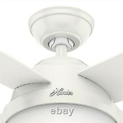 Hunter Fan 44 in Contemporary Fresh White Ceiling Fan with Light Kit and Remote