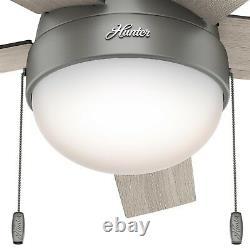 Hunter Fan 46 in Low Profile Matte Silver Ceiling fan with Light Kit and Remote