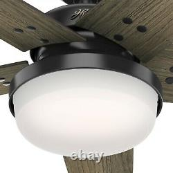 Hunter Fan 52 in Indoor Contemporary Matte Black Ceiling Fan w Light and Remote