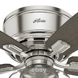 Hunter Fan 52 in. Low Profile Brushed Nickel Ceiling Fan with LED Light Kit