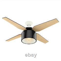 Hunter Fan 52 in. Modern Gloss Black Ceiling Fan with LED Light & Remote Control