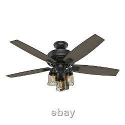Hunter Fan 52 in Traditional Matte Black Ceiling Fan with Light & Remote Control