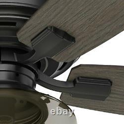Hunter Fan 52 inch Low Profile Matte Black Ceiling Fan with Light & Remote Control