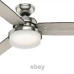 Hunter Fan 60 inch Casual Brushed Nickel Ceiling Fan with Light & Remote Control