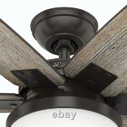 Hunter Fan 64 inch Nobel Bronze Ceiling Fan with Light Kit and Remote, 6 Blades