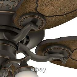 Hunter Traditional 54 inch Ceiling Fan in Onyx Bengal with 3 LED Lights