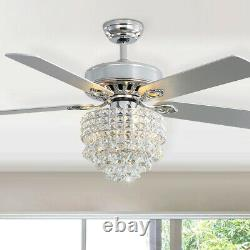 Luxury Ceiling Fan 52 5 Blades Fan With LED Light Chandelier Remote Control