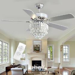 Luxury Crystal 52 Inch Ceiling Fan Light 5 Blades Chandelier Lamp Remote Control