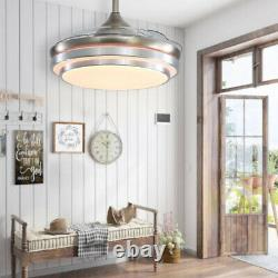 Modern 42 LED Retractable Ceiling Fan Light Dimmable Blade Lamp Remote Control