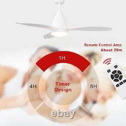Modern 52 inch Gloss White Ceiling Fan With Light Remote Control Timer 5 Speed