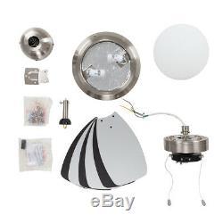 Modern Ceiling Fan & Light 30 Brushed Chrome Reversible Blades Remote Control