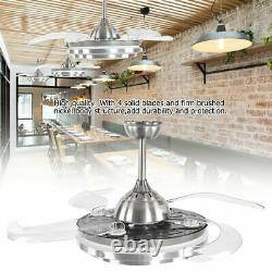 Modern Remote Control Ceiling Fan 4 Retractable Blades with 3 Color LED Light UK