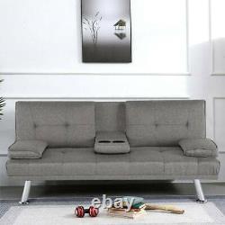 NEW SCANDI STYLE FABRIC GREY Sofa Bed recliner 3 Seater Modern Luxury Design