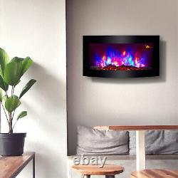 New 2020 Led Colour Flame Effect Truflame Log Curved Wall Mounted Electric Fire