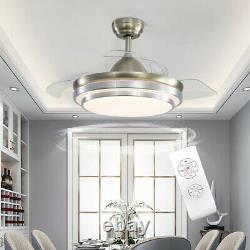 Nordic 42 Invisible Ceiling Fan Cooling Fans with LED Light Lamp Remote Control