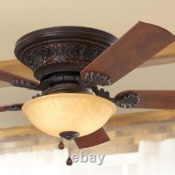 Old World Bronze 52 Ceiling Fan 3-Speed Pull Chain Bowl Light Tuscan Fixture