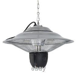 Patio Heater Ceiling Gazebo 1500W Halogen Remote Control Aluminium Silver