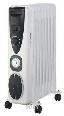 Portable 11 Fin 2kw Electric OIL FILLED RADIATOR Heater With Timer & Thermostat