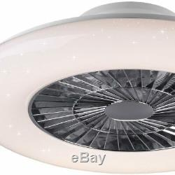 Quiet LED ceiling fan remote control star effect daylight bedroom lamp dimmable