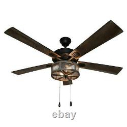 River of Goods Prairie 52 in. LED Oil Rubbed Bronze Caged Ceiling Fan With Light