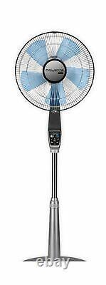 Rowenta VU5670 Oscillating Standing Fan 5 Speed Settings Turbo Silence Silver