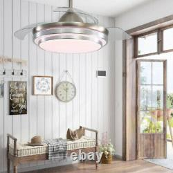 Silent 42 inch LED Ceiling Fan with 3-Color Changing Lights Remote Control&Timer