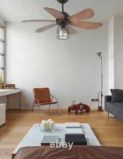 Small ceiling fan light with remote control Chicago Black & Walnut 91 cm 36