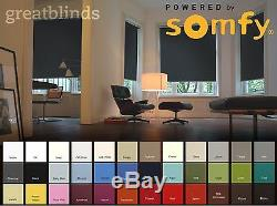 Somfy Electric Blackout Roller Blinds with Remote Control Fast Delivery