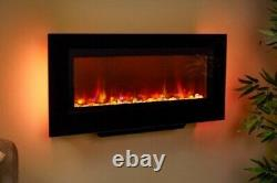 Suncrest Santos Black Wall Mounted Modern Fireplace Electric Fire Suite Pebbles
