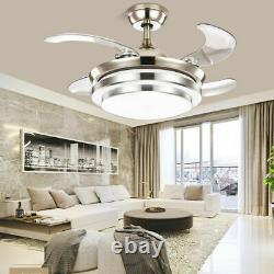 Super Silent 42 Inch LED Ceiling Fan + Remote Control Lamp 4 Retractable Blades