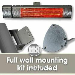 Two Pack Patio Outdoor Electric Heater 2kw Wall Mounted Infrared Garden Heater
