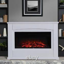 Wall/Floor Electric Fire Fireplace Glass Hearth Faux Flame Decor Remote Control