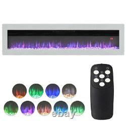 Wall/Freestanding 50'' Electric Fireplace LED Fire Flames 900/1800W Heater White