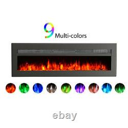 Wall Mounted 405060Electric Fire Insert Floating 9LED Flame Fire Freestand UK